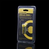 NiteCore NL166 RCR123A(16340) 3 7 V 650mAh 3A литий-ионный аккумулятор с PCB защитой