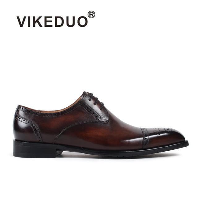 VIKEDUO 2019 Vintage Men's Leather Derby Shoes Solid Lace-Up Formal Wedding Office Dress Shoe Male Brand Handmade Zapatos Hombre