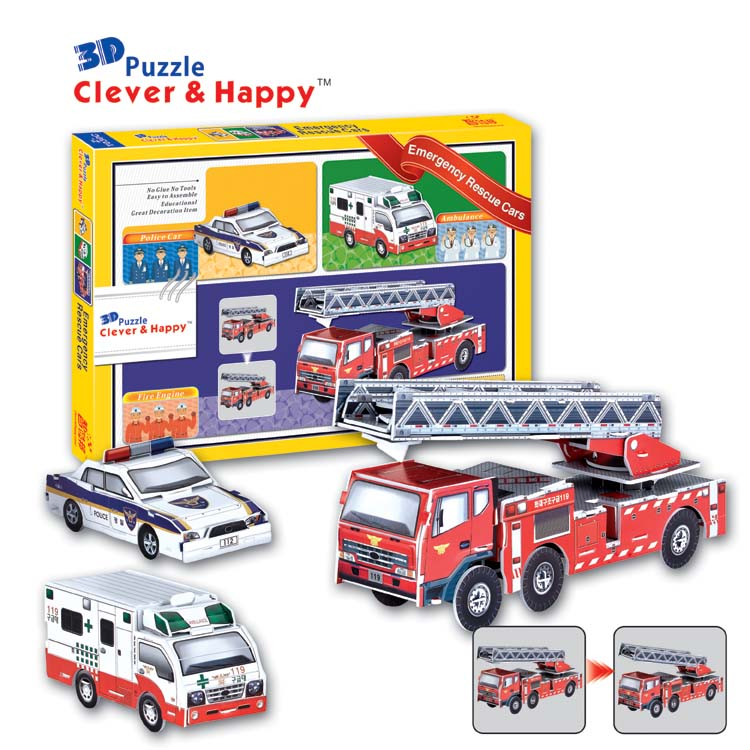 2014 new clever&happy land 3d puzzle model Emergency Rescue Cars adult puzzle diy paper model educational toys paper