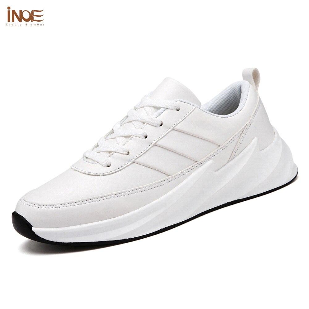 Pour Inoe Semelle Respirant Lumière Pu Sneakers Black white Chaussures De En green Décontractées Lame Femmes Unique Cuir Appartements Loisirs Printemps Automne Blanc Femme z77prqX
