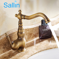 Luxury Antique Brass Bathroom Basin Faucet Tap Single Handle Hot Cold Water Mixer Tap 360 Degrees
