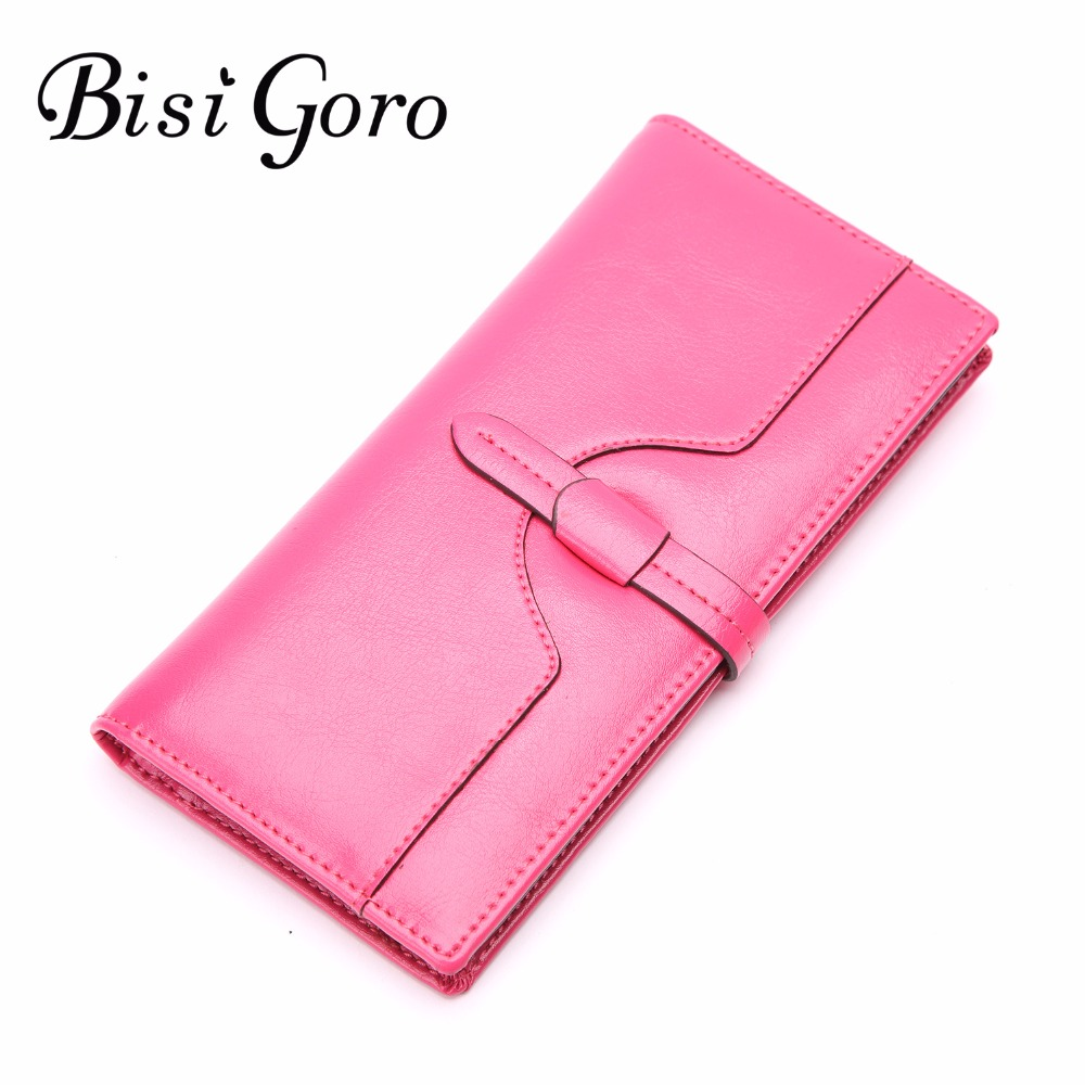 Bisi Goro 2018 new wallets women wallet dollar price oil wax cowhide leather purse high quality wallets cards holder clutch bag