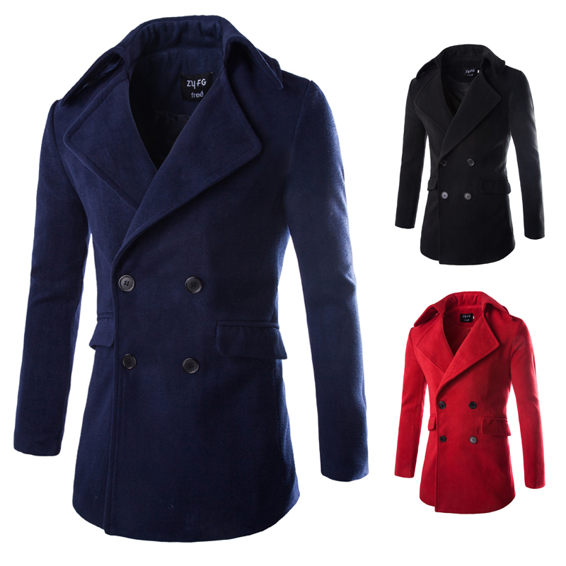 2015 new Autumn Winter Long Style Fashion Solid Wool Men Coats Double breasted Slim fit Thick
