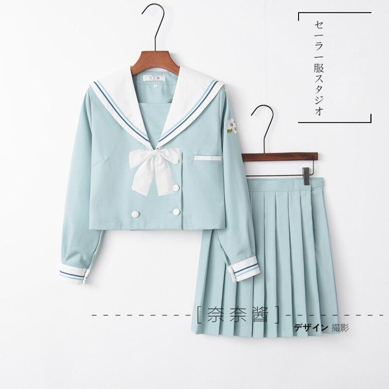 Japanese School JK Uniforms Sailor Collar Suit Lolita Pear Fower Embroidery Light Blue Blouse Pleated Skirt Suit Women Dress