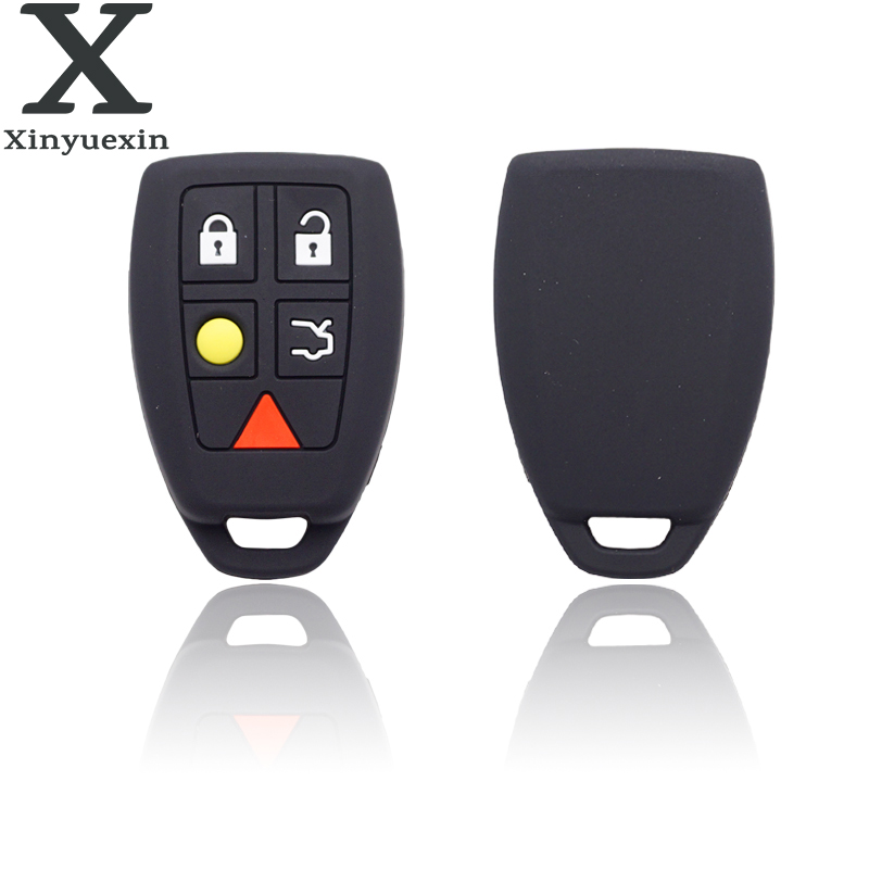 Xinyuexin  Silicone Car Key Cover Case For Volvo S40 V50 V70 C70 S60 Remote Fob Car Key 5 Buttons