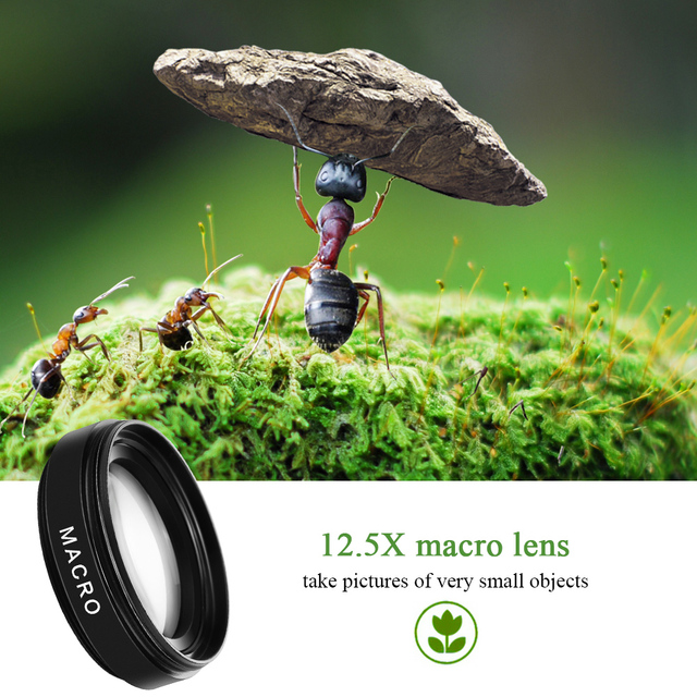 2 Functions Mobile Phone Lens 0.45X Wide Angle Len & 12.5X Macro HD Camera Lens Universal for iPhone Android Phone 6