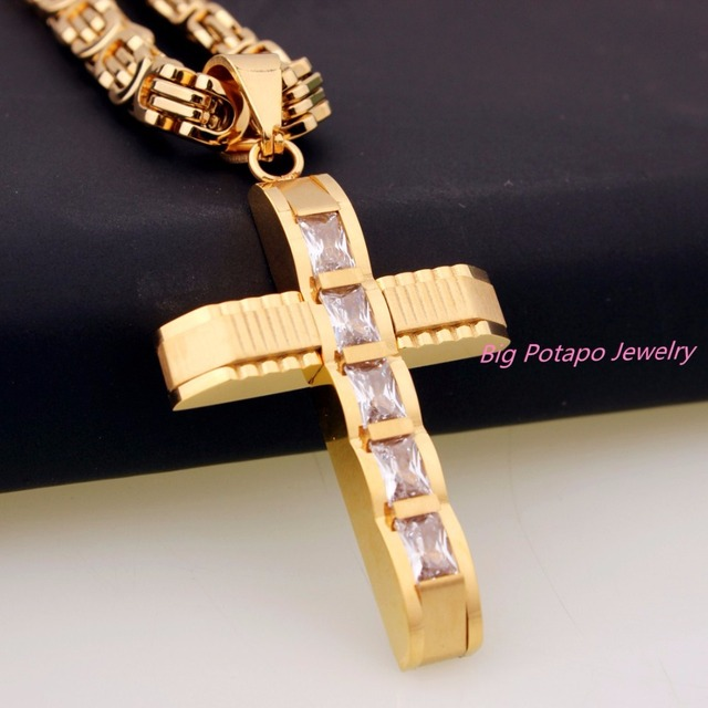 Fashion Crystal Cross Pendant Silver Gold Black Color Stainless Steel Zirconia Jesus Cross Pendant Necklace For Men