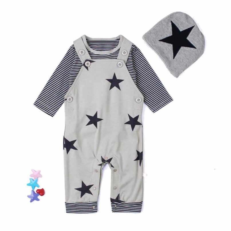 Szary gorący nowy 2017 śliczne 3 sztuk zestaw noworodka zestawy dla niemowląt koszulka w paski Top spodnie na szelkach ogólnie kapelusz stroje zestaw drop shipped ST01