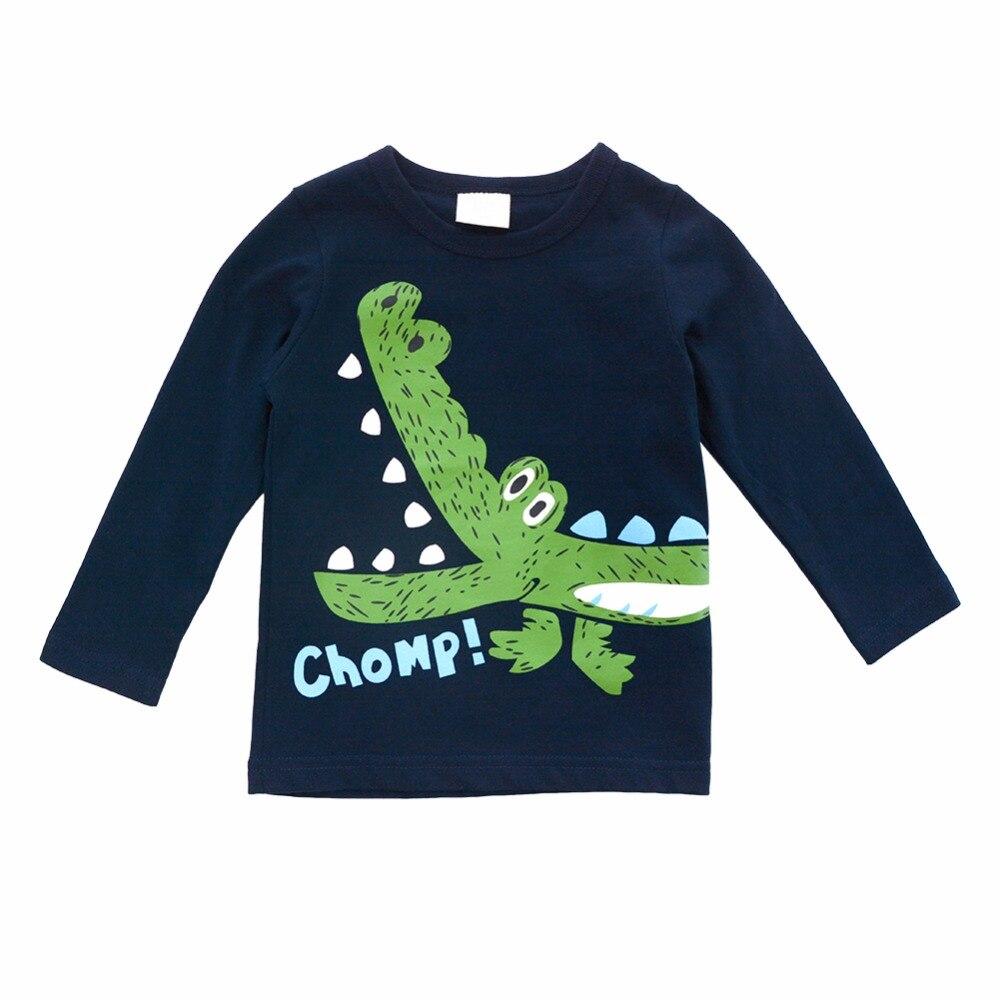 Biniduckling маленьких Футболка для мальчиков детей Костюмы ткань Обувь для мальчиков топы с длинными рукавами с принтом крокодила Детские футбо...