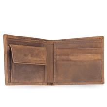 Foreign trade explosions retro mens crazy horse leather wallet short 2 fold first layer 571