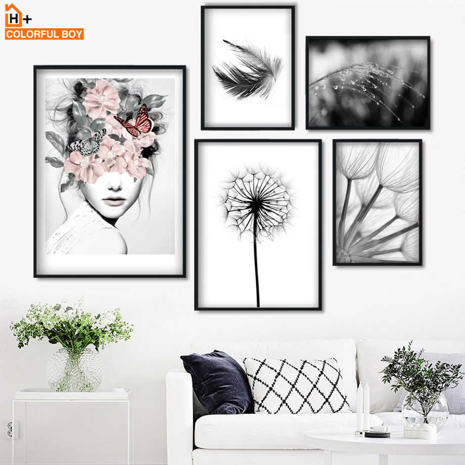 Flower Girl Dandelion Feather Landscape Wall Art Canvas Painting Nordic Posters And Prints Wall Pictures For Living Room Decor