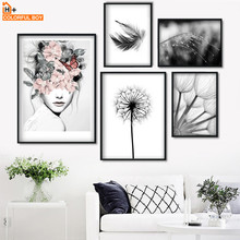 Flower Girl Dandelion Feather Landscape Wall Art Canvas Painting Nordic Posters And Prints Pictures For Living Room Decor