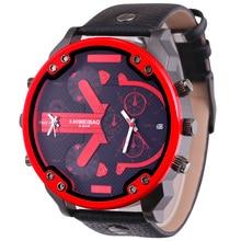 5.5cm Big Face Quartz Watch For Men Dual Times Date Men's Wrist Watches Man Black Leather