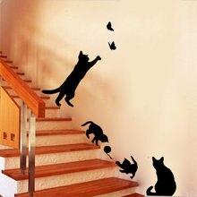 Adesivo de parede de gato, decoração de vinil para sala de estar, adesivos de parede faça você mesmo