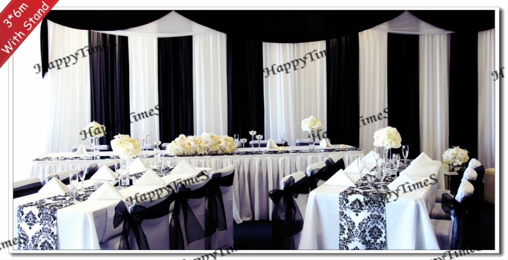 Black white wedding background decoration curtain backdrop for Background curtain decoration