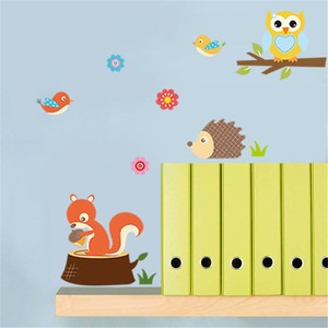Image 3 - Wall Stickers DIY Kids Forest Animals Owl Childrens Room Bedroom Background Muurstickers Voor Kinderkamers Duvar Sticker Room