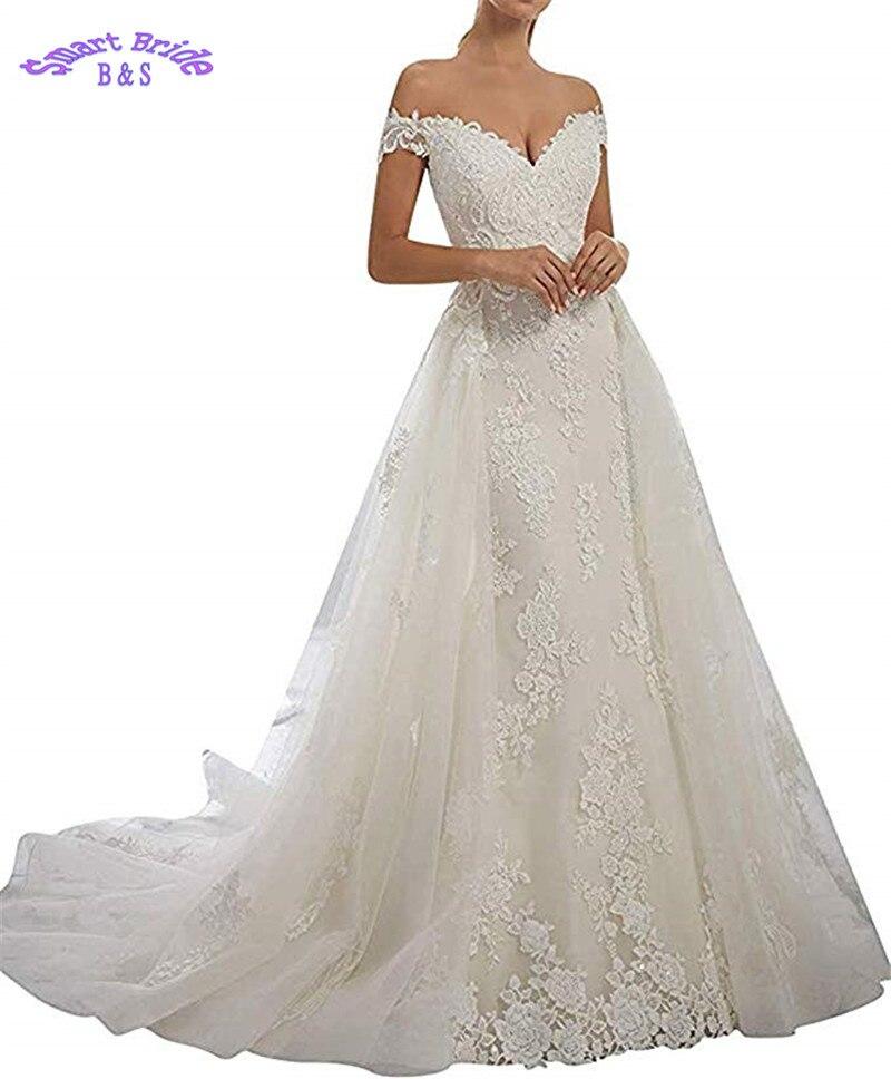 Off The Shoulder White Wedding Dresses For Bride 2019 Lace