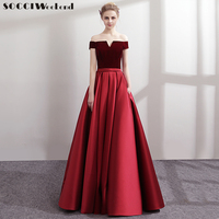 SOCCI Burgundy Prom Dresses 2018 Off Shoulder Women Elegant Long Formal Evening Party Dress Sexy Ladies Robe Gowns New Plus Size