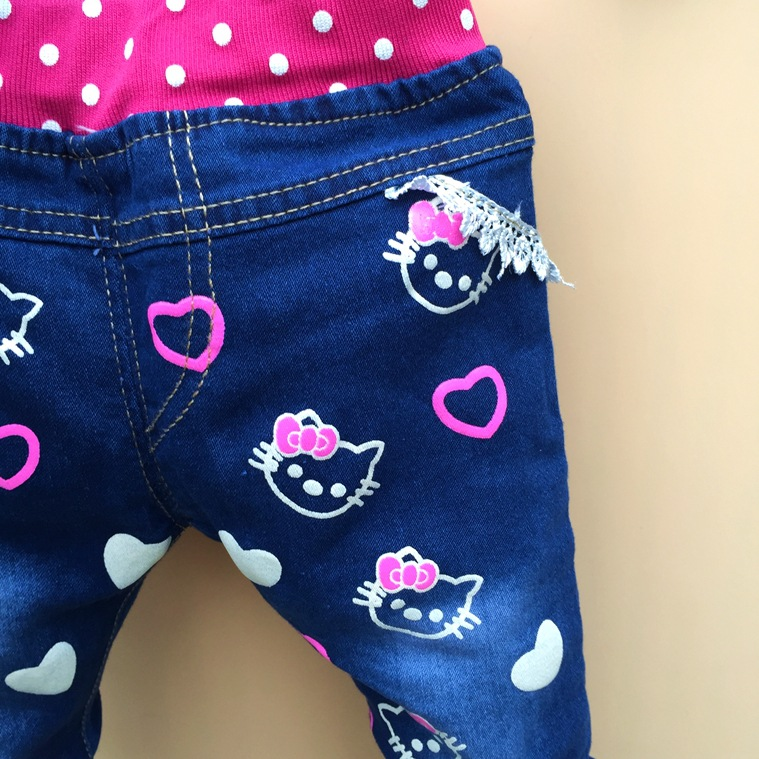 8b7e7d9ca Baby Girl Jeans Trousers Hello Kitty Pants Kids Girls Leggings Children  Cashmere Pants Baby Autumn Denim Jeans Clothes 1 5years-in Jeans from  Mother & Kids ...