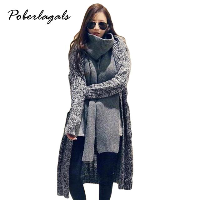 Outono & Inverno 2016 Cheio de Mulheres Estilo Coreano outwear longo-luva cardigans cor sólida feminino casaco De Malha cardigan sweaters