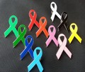 Breast Cancer Awareness Pink Ribbon Brooch Pink Blue Yellow White Black Orange Green Enamel Lapel Pins for World AIDS 2.6*4.2cm