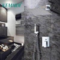 KEMAIDI Luxury Bathroom Bathtub Rainfall Shower head Wall Mouned Swivel Panel Mixer Taps Shower Faucets Set Chrome Finish Mixer