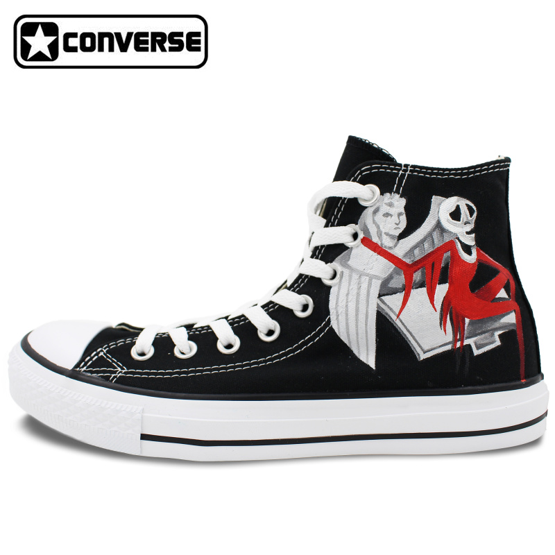Black Converse All Star Woman Man Shoes Nightmare Before Christmas Design Hand Painted Shoes Men Women