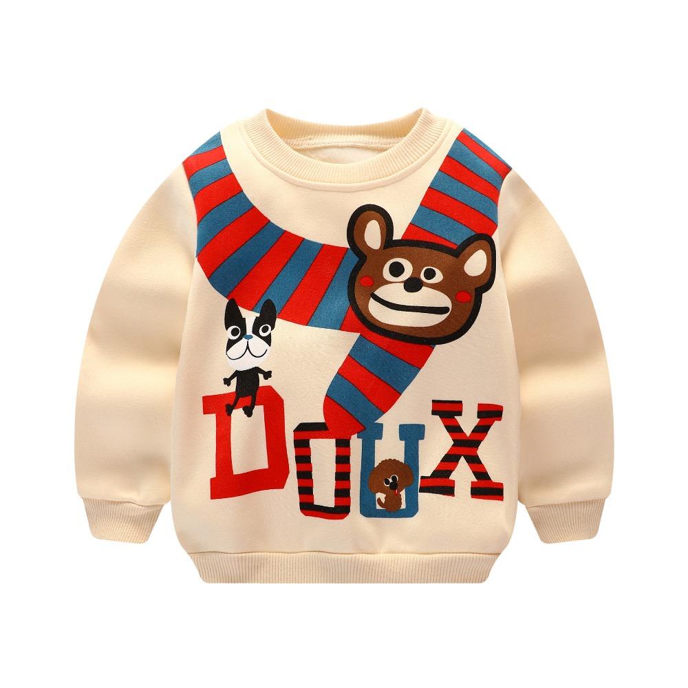 HTB1skCSSpXXXXa.XpXXq6xXFXXX0 - Unini-yun boys Hoodie baby girls fleece thick warm jackets Bear print hooded kids clothes sports clothes Beige color unisex top
