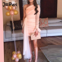 JillPeri Mesh One Shoulder Flare Mini Dress Women Puff Sleeve Solid Draped Daily Outfit Elegant Celebrity Party Little Dress