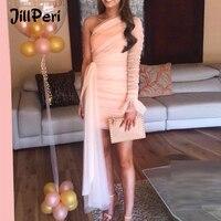 JillPeri Mesh One Shoulder Flare Mini Dress Women Puff Sleeve Solid Draped Daily Outfit Elegant Celebrity Party Little Dress