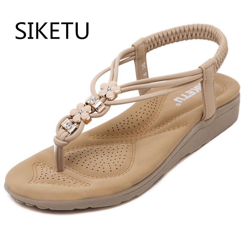 SIKETU summer fashion rhineston flower women casual wedge sandals shoes woman Bohemia flip flop beach sanldals Breathable shoes woman shoes flip flops sandals foam zapatos mujer ladies shoe summer wedge high heels bohemia beach flip flop casual sapatos new