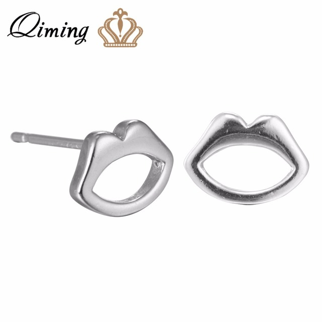 Qiming 2017 New Style Fashion Plain Silver Lips Stud Earrings Fine Jewelry 925 Sterling