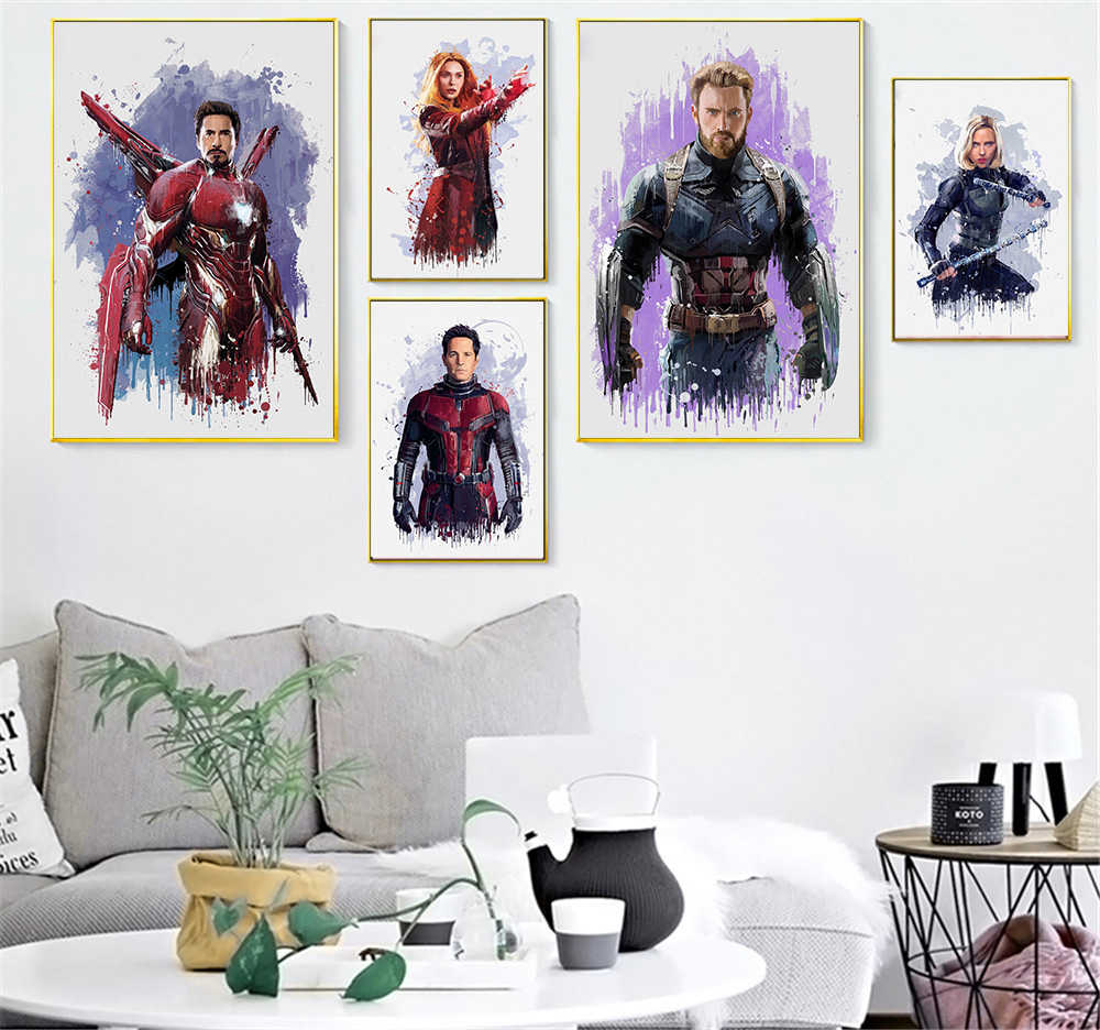 Canvas Painting Wall Picture For Bedroom Room Decor Marvel Movie Superhero Avenger Watercolor Black and White Print Poster