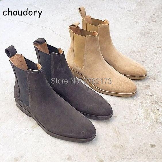 Handmade Luxury Style Men Chelsea Boots Leather Shoes Men