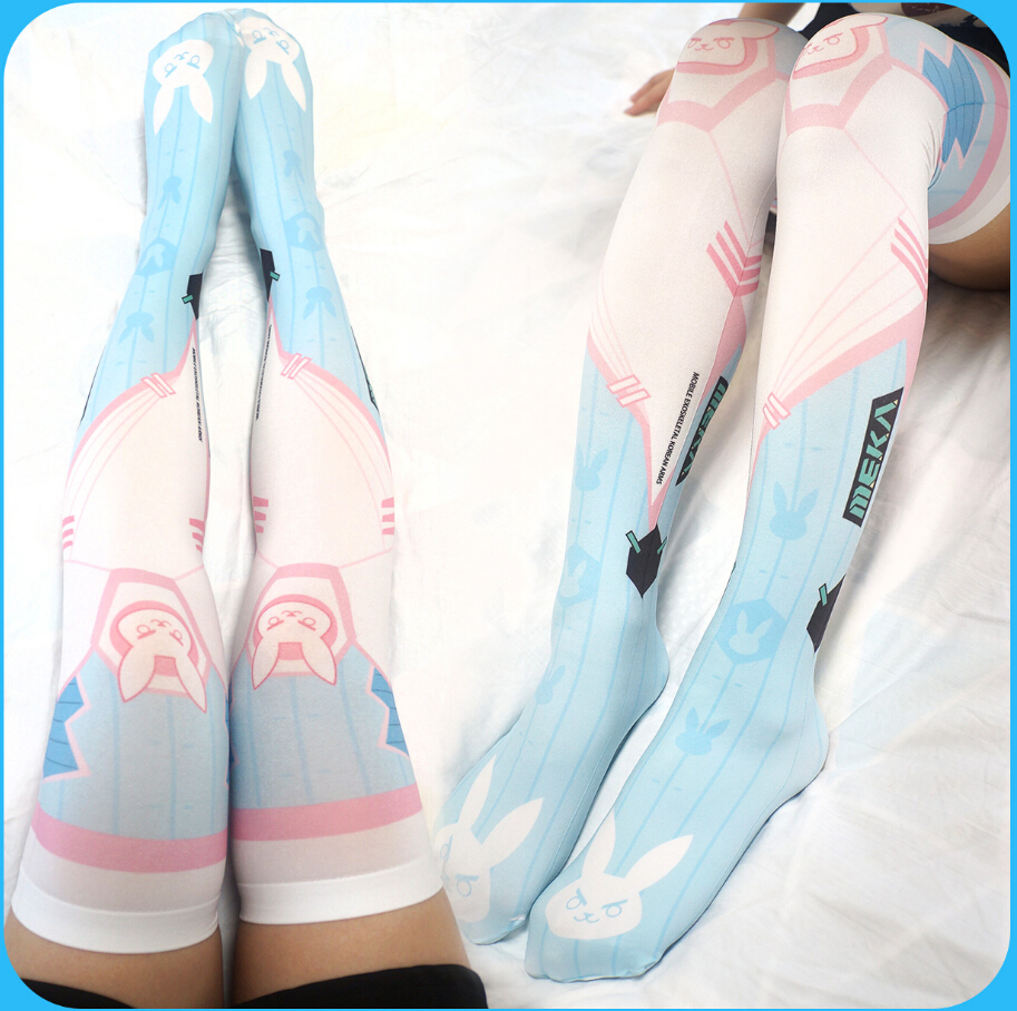 HOT Free shipping  D.VA Printed Cosplay Stockings Women Girl's Socks Lotita  Stockings