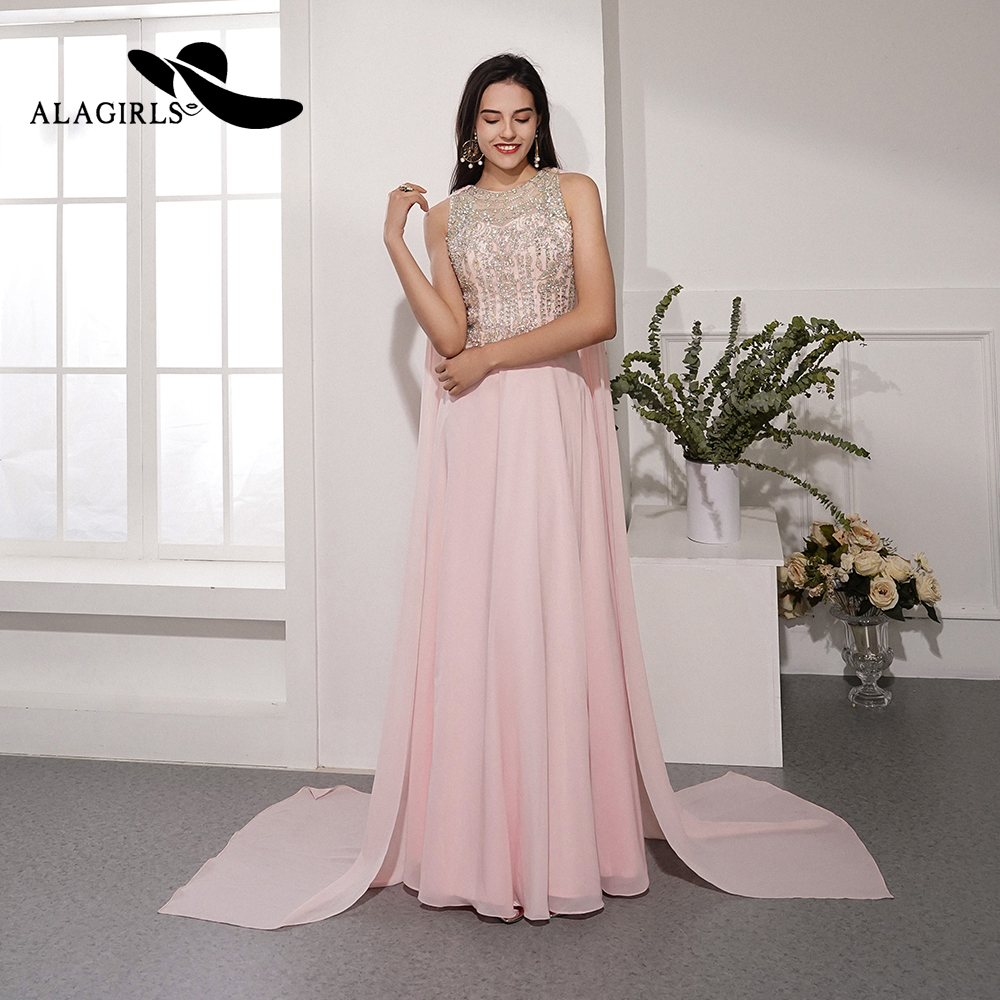 Alagirls 2019 New Arrival Beading Evening Dress Elegant Evening Gowns With Long Shoulder Shawls Party dress Illusion Prom Dress in Evening Dresses from Weddings Events