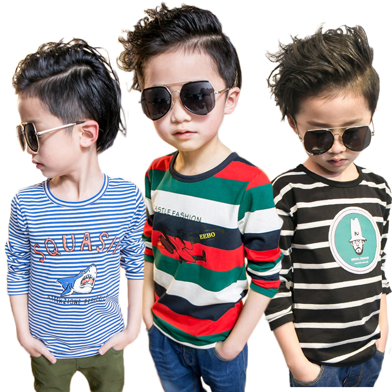 Boys Long Sleeve T Shirts Thick Stripe Kids Cartoon Tops Tees Big Boy Pinstripe Sweatshirt Cotton T Shirt Shark Plane 2-10 Yrs