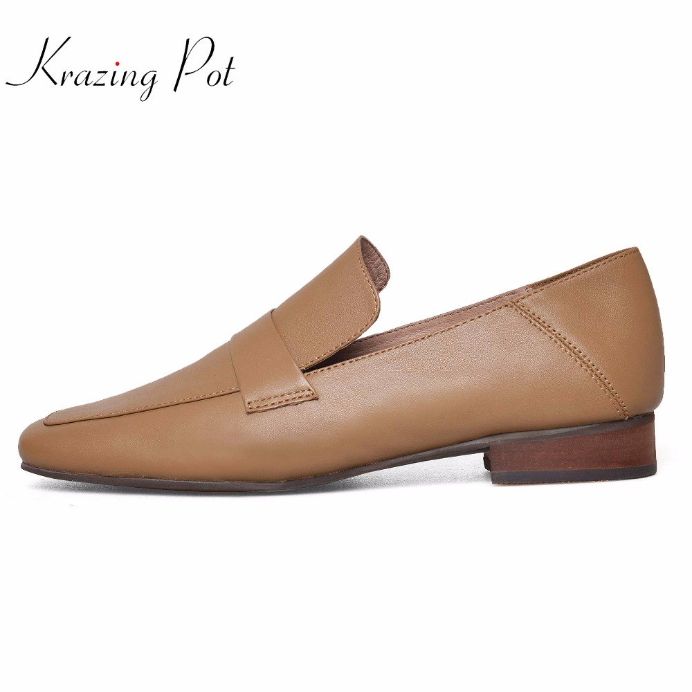 Krazing pot 2018  brand shoes thick low heel square toe women pumps slip on high quality women concise style causal shoes L01 slip on men casual shoes male sandal new fashion genuine leather low heel high quality brand korean style thick bottom plus size