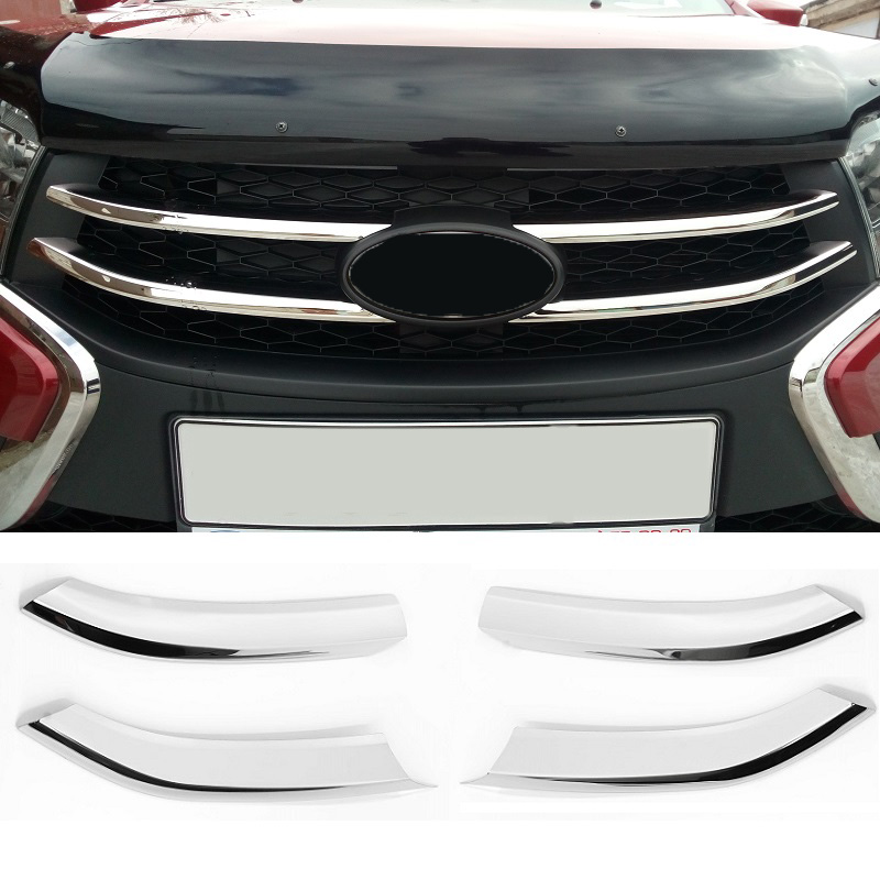 4pcs Stainless Steel Front Bumper Grille Decorative Molding Cover Trim For Lada XRAY