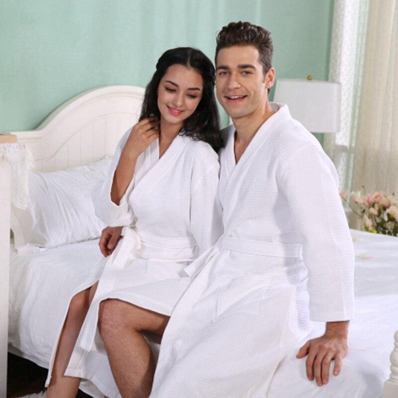 Kimono d'été coton Robe hommes femmes Sexy Peignoir gaufre Robes doux Peignoir Homme Badjas sommeil vêtements de nuit de salon - 4