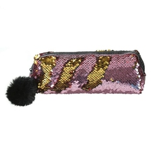 Shining Sequin Large Pencil Case Stationery Storage Pen Organizer Bag School Office Supply Cosmetic Holder For Gift Gold + Pow 1 pc lovely annoy shiba dog pu large pencil case stationery storage organizer bag school office supply escolar