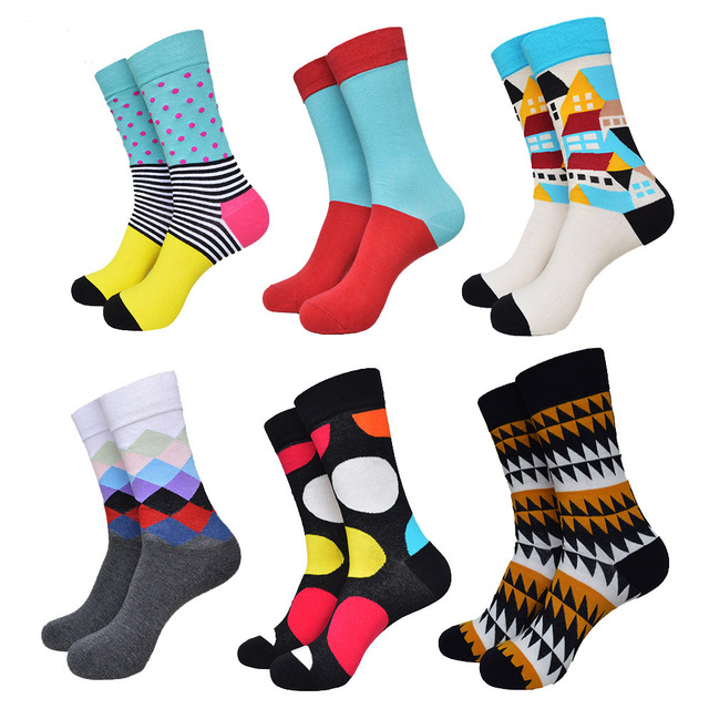 2017 Fashion Colorful Socks Men Hit Color Stripe Dot Jacquard Cotton Summer Style Sox Casual Mens Dress Sock