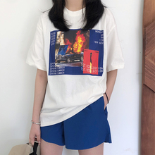 korean casual female T-shirt Summer Woman pattern print loose Tops Fashionable white black Basic section T Shirt Women Clothes