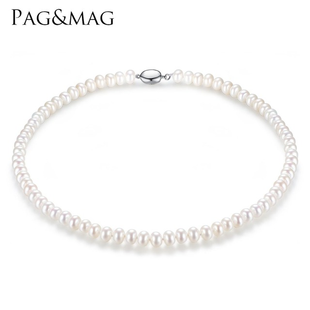 PAG&MAG Brand 7-8mm Natural Freshwater Pearl Necklace Single Necklace for Women High Brightness Pearl Beaded Chocker Wholesale