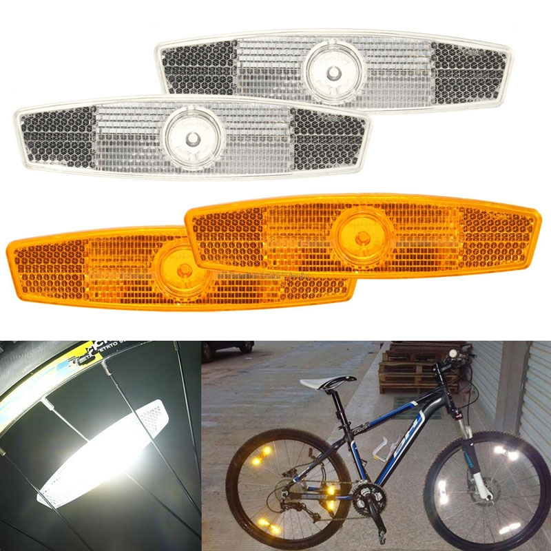 wholesale 6 amber bicycle reflector yellow spoke reflector safety reflector