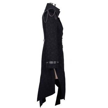 Devil Fashion Heavy Punk Rock Asymmetric Long Jacket Coats for Women Steampunk Black Autumn Winter Cotton Overcoat Windbreakers 8