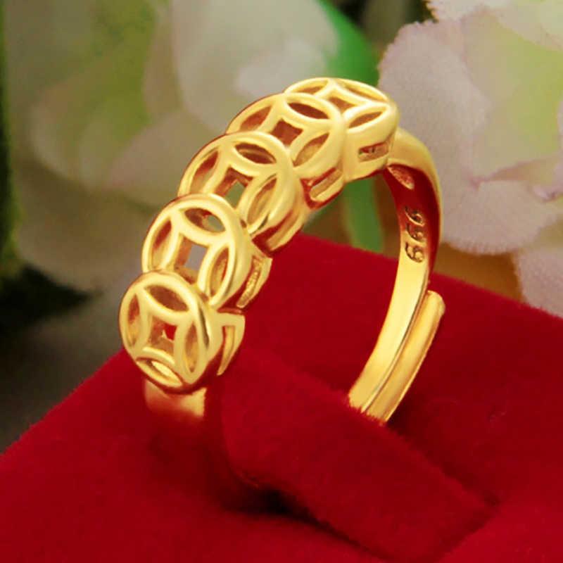 2020 matt Messing Überzug 24K Gold Schmuck Dame Rose Crown Ring Mode Vietnam Einstellbar Heiraten Ring Charme Schmuck Großhandel