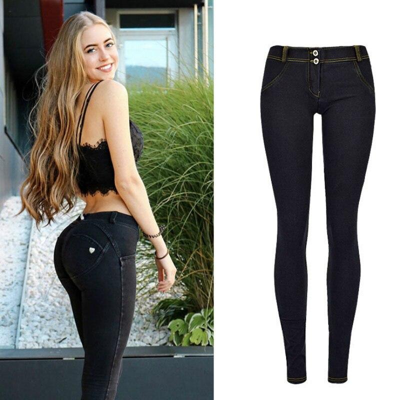 High Street Push Up black Denim Pants Mujer Low Waist Skinny