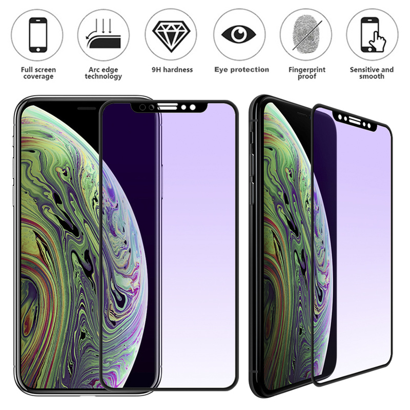 Purple Light Glass protective for iphone X tempered glass For iPhoneXS max XR screen protector Tempered Glass Protective Film(China)