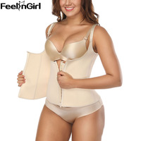 FeelinGirl Neoprene Waist Trainer Vest Top Strap Zip hooks Tummy Fat Burner Waist Corset Weight Loss Slimming Belt Trimmer B